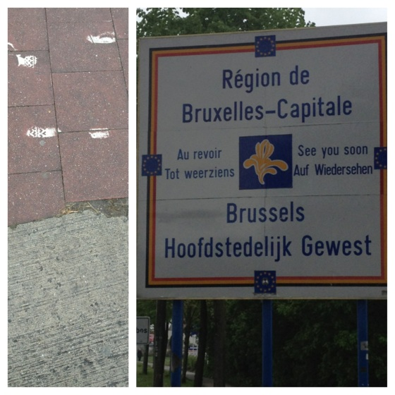 The Brussels-Flanders border: clearly marked by signposts and a change of paving