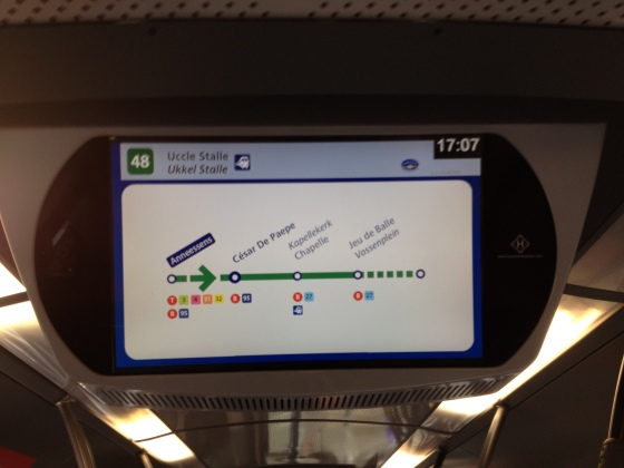 The handy real-time route map on board every bus